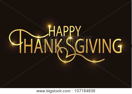 Happy Thanksgiving Day Golden Logotype, Badge And Icon