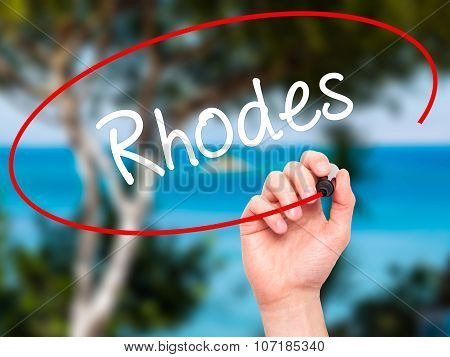 Man Hand writing Rhodes with black marker on visual screen.