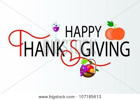 Happy Thanksgiving Day Hipster Logotype, Badge And Icon