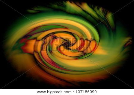 Abstract twirl of color in black