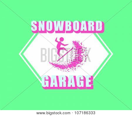 Snowboarding Typography Icon, Logotype And Badge