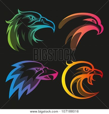 Colorful eagle head logos with rainbow gradients set on black background