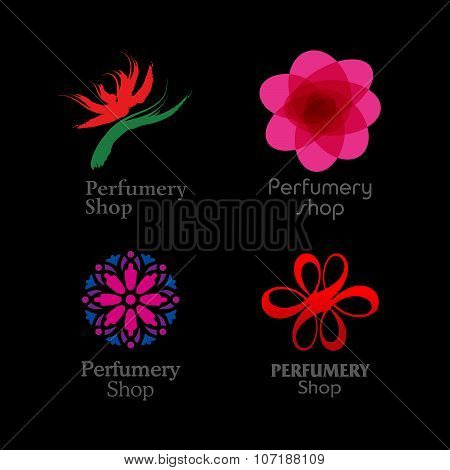 Red, green and purple perfumery brand logos set on black background