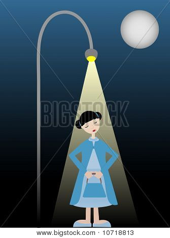 Shy Girl Standing Alone Under Street Lamp