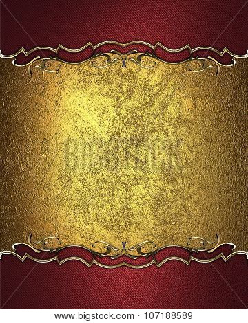 Gold Nameplate For Text With Gold Border On Red Texture. Template For Design. Copy Space For Ad Broc