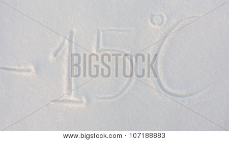 The word minus fifteen written on snow background