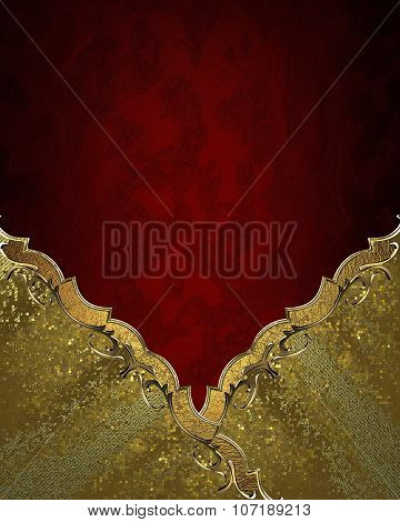 Red Texture With An Gold Ornament In The Corner. Element For Design. Template For Design. Copy Space