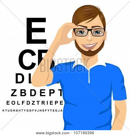 man with glasses reading sight test characters