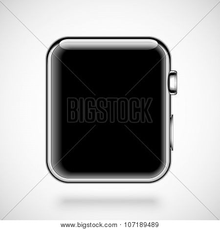 Modern shiny smart watch isolated on white background