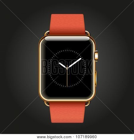 Modern shiny 18-karat yellow gold smart watches with red modern buckle bracelet