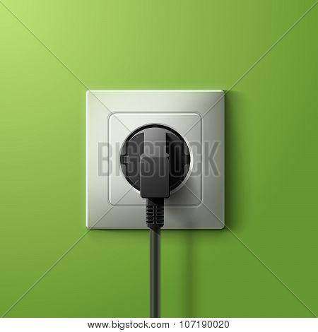 Realistic electric plastic white socket and black plug with transparent shadow on green wall backgro