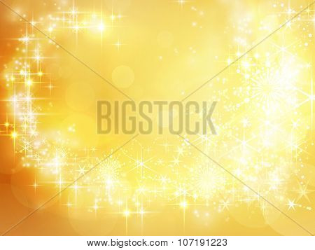 Festive golden Christmas backdrop with stars, snowflakes, bokeh lights that form a pattern like a shooting star with a trail.