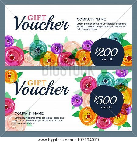 Vector Gift Voucher Template With Decorative Rose Flowers.