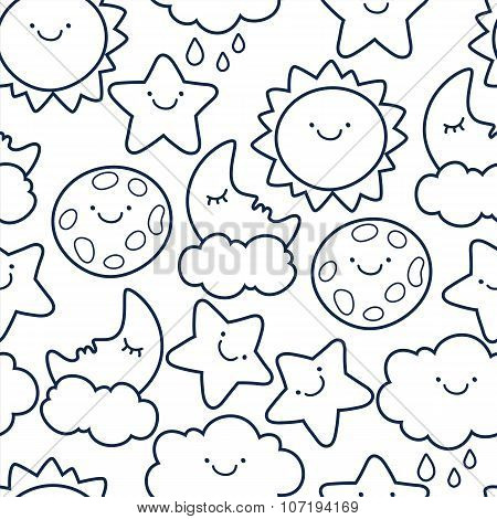 Funny Sketching Line Style Illustration Of Star, Sun, Cloud, Moon.