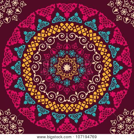 Seamless pattern mandala. Vintage decorative elements. Hand drawn decor background. Islam, Arabic, Indian, ottoman motifs. Perfect for printing on fabric or paper