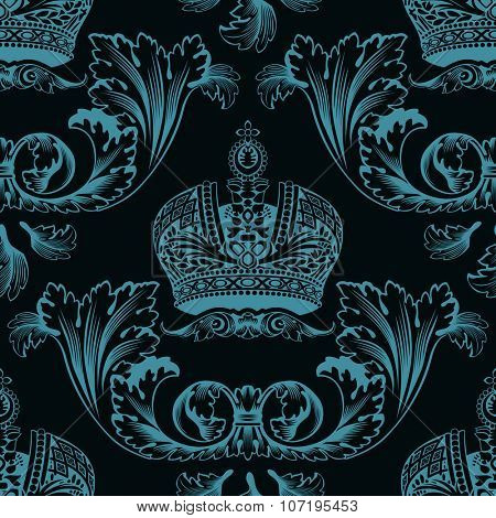 Seamless decor black neon ornament pattern. Crowns raster background