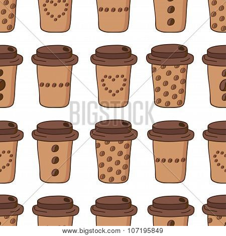 Vector coffee cups seamless pattern