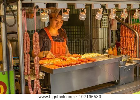 Street Vendors At Danshui Shopping Area