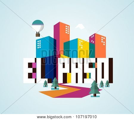 El Paso, in colorful poster design.