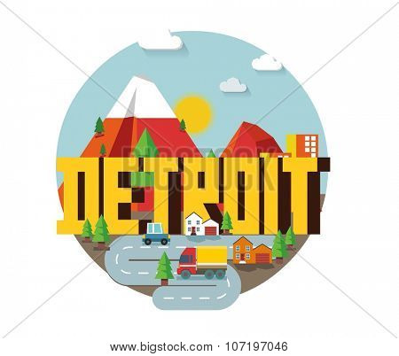 Detroit in colorful poster design.