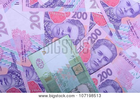 European Money, Ukrainian Hryvnia Close Up