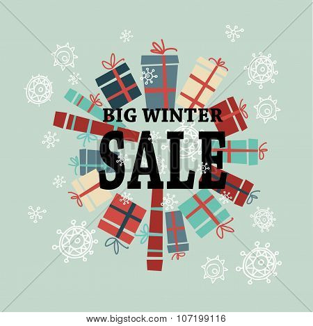 Winter sale background with black letters,gifts and snow.   Vector illustration