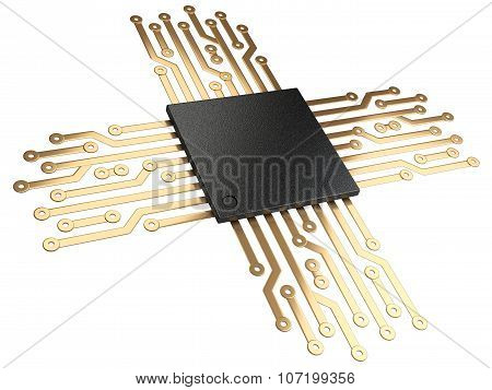 3D Illustration Of Cpu Chip Central Processor Unit With Contacts For Connection