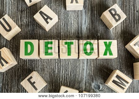 Wooden Blocks with the text: Detox