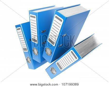 Modern Blue Office Folders With Documents