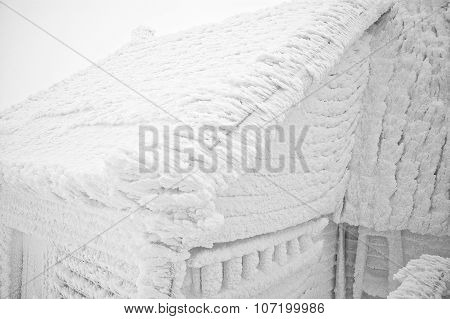 Snow Covered House After Blizzard