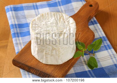 close up of soft white rind cheese on wooden cutting board and checkered dishtowel