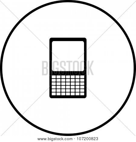 mobile device with keyboard symbol