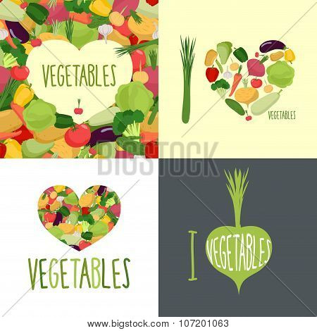 I Love Vegetables. Set Of Logo For Food Lovers. Symbol Heart Of Vegetables: Cabbage, Onions, And Po