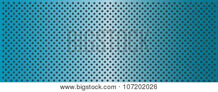 High resolution concept conceptual blue metal stainless steel aluminum perforated pattern texture mesh banner background