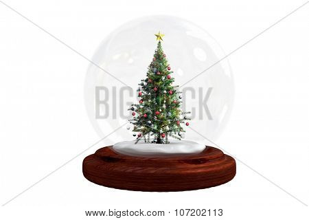 Christmas tree in snow globe on white background