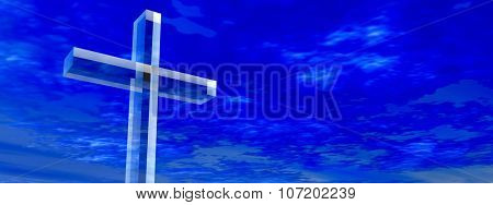 Concept conceptual glass cross or religion symbol silhouette on water landscape over a blue sky with sunlight clouds background banner