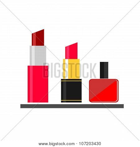 lipstick nail varnish makeup flat icon