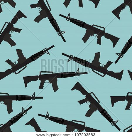 Automatic Rifle M16 Seamless Pattern. Arms On Blue Background. Military Ornament Gun.