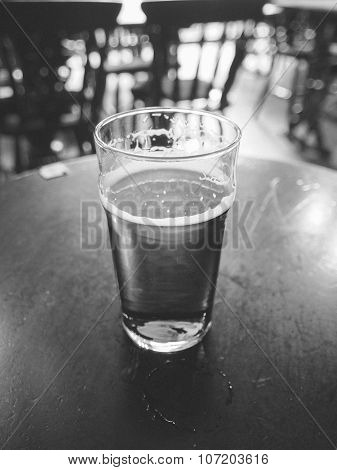 Black And White Pint Of Beer