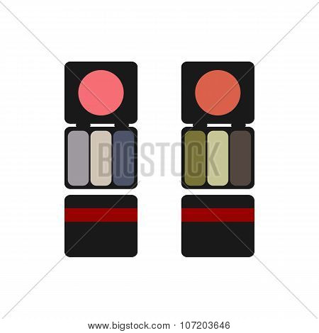 makeup colored blush and eyeshadow flat
