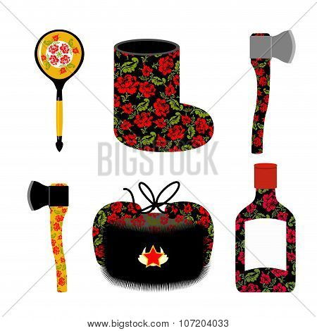 Traditional Set Of Icons For Russia: Boots, Axe And Ushanka. Wooden Spoon And Vodka. Russian Nationa