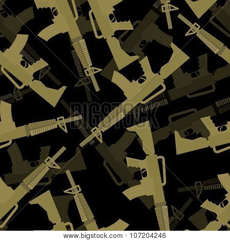 Military M16 Rifle Seamless Pattern. 3D Background Of Machines Gun. Army Ornament.