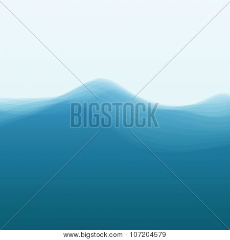 Water Wave. Vector Illustration For Your Design. Flowing Background With Halftone.