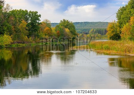 Nice autumn landscape in Vorskla river, take it near Poltava City, Ukraine