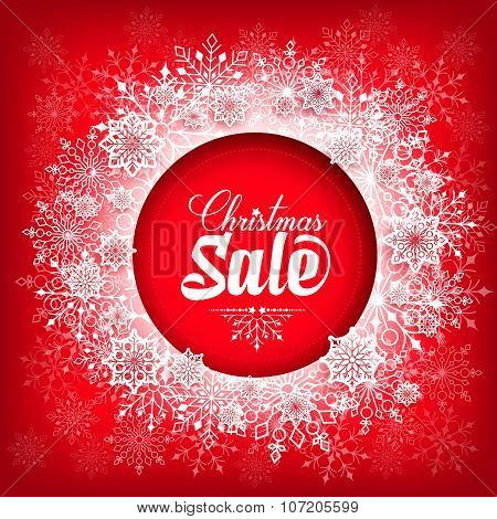 Christmas Sale Text in Circle of Snow Flakes with Red