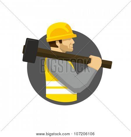 Construction worker holding sledge hammer vector