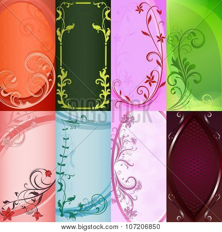 Set of color floral design card templates.