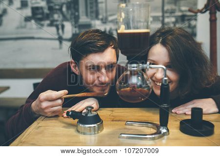 Vintage couple. Coffee shop