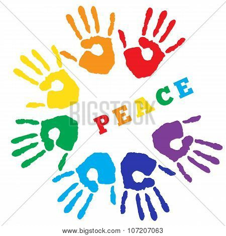 Hand Prints In Rainbow Colors On White Background.