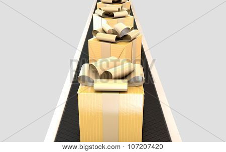 Golden Wrapped Gift Box On Conveyor